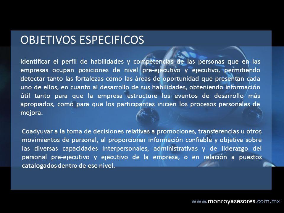 www.monroyasesores.com.mx Identificar el perfil de habilidades y competencias de las personas que en las empresas ocupan posiciones de nivel pre-ejecu