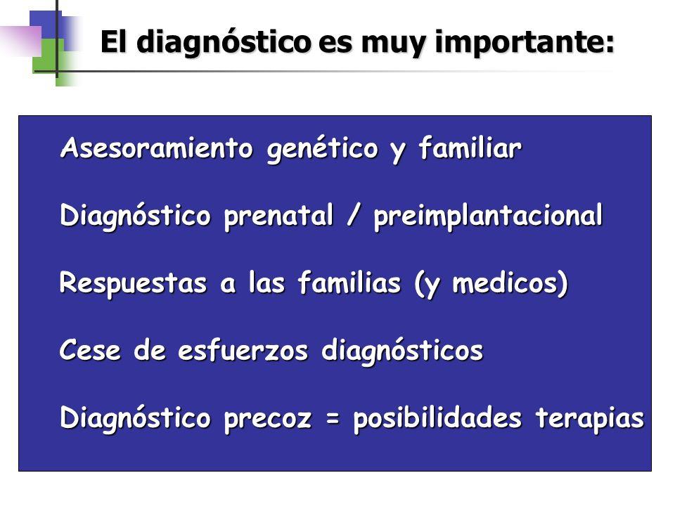 Asesoramiento genético y familiar Diagnóstico prenatal / preimplantacional Respuestas a las familias (y medicos) Cese de esfuerzos diagnósticos Diagnó