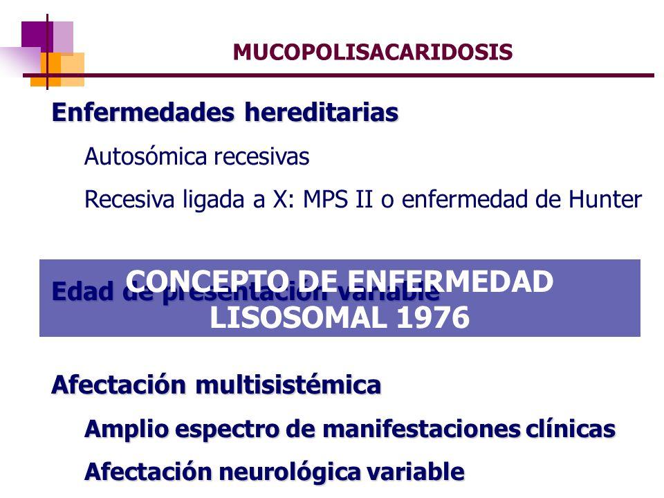 MUCOPOLISACARIDOSIS Enfermedades hereditarias Autosómica recesivas Recesiva ligada a X: MPS II o enfermedad de Hunter Edad de presentación variable Af