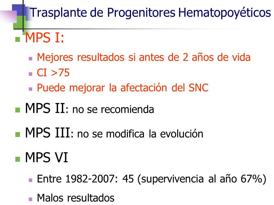 Trasplante de Progenitores Hematopoyéticos MPS I: Mejores resultados si antes de 2 años de vida CI >75 Puede mejorar la afectación del SNC MPS II : no