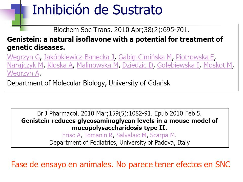 Inhibición de Sustrato Biochem Soc Trans. 2010 Apr;38(2):695-701. Genistein: a natural isoflavone with a potential for treatment of genetic diseases.