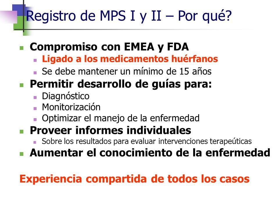 Compromiso con EMEA y FDA Ligado a los medicamentos huérfanos Se debe mantener un mínimo de 15 años Permitir desarrollo de guías para: Diagnóstico Mon