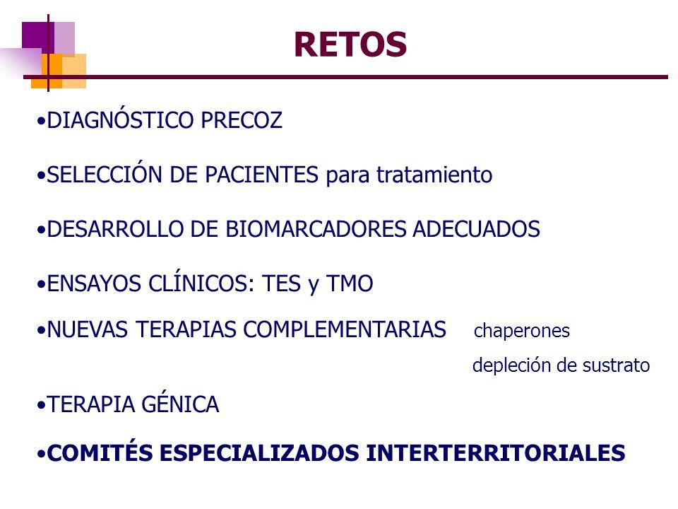 RETOS DIAGNÓSTICO PRECOZ SELECCIÓN DE PACIENTES para tratamiento DESARROLLO DE BIOMARCADORES ADECUADOS ENSAYOS CLÍNICOS: TES y TMO NUEVAS TERAPIAS COM