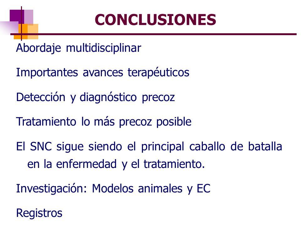 CONCLUSIONES Abordaje multidisciplinar Importantes avances terapéuticos Detección y diagnóstico precoz Tratamiento lo más precoz posible El SNC sigue