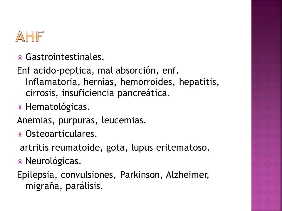 Gastrointestinales. Enf acido-peptica, mal absorción, enf. Inflamatoria, hernias, hemorroides, hepatitis, cirrosis, insuficiencia pancreática. Hematol