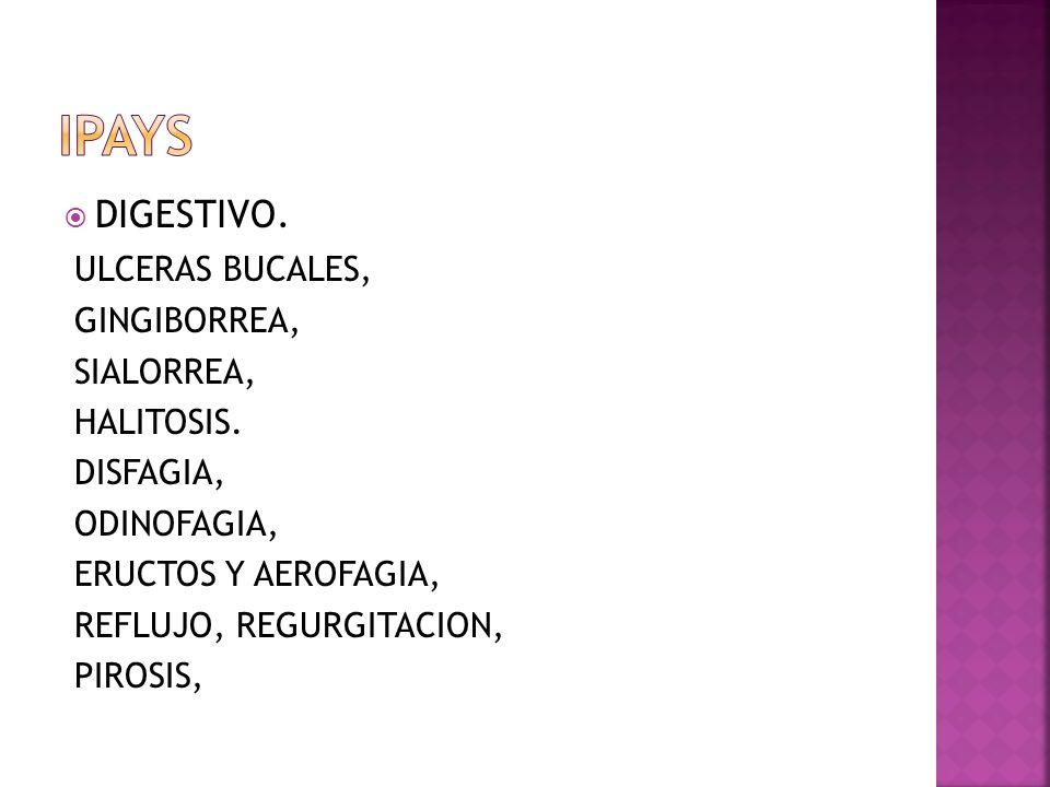 DIGESTIVO. ULCERAS BUCALES, GINGIBORREA, SIALORREA, HALITOSIS. DISFAGIA, ODINOFAGIA, ERUCTOS Y AEROFAGIA, REFLUJO, REGURGITACION, PIROSIS,