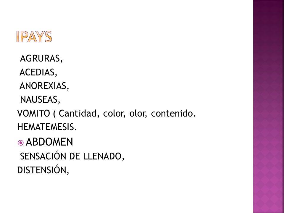 AGRURAS, ACEDIAS, ANOREXIAS, NAUSEAS, VOMITO ( Cantidad, color, olor, contenido. HEMATEMESIS. ABDOMEN SENSACIÓN DE LLENADO, DISTENSIÓN,