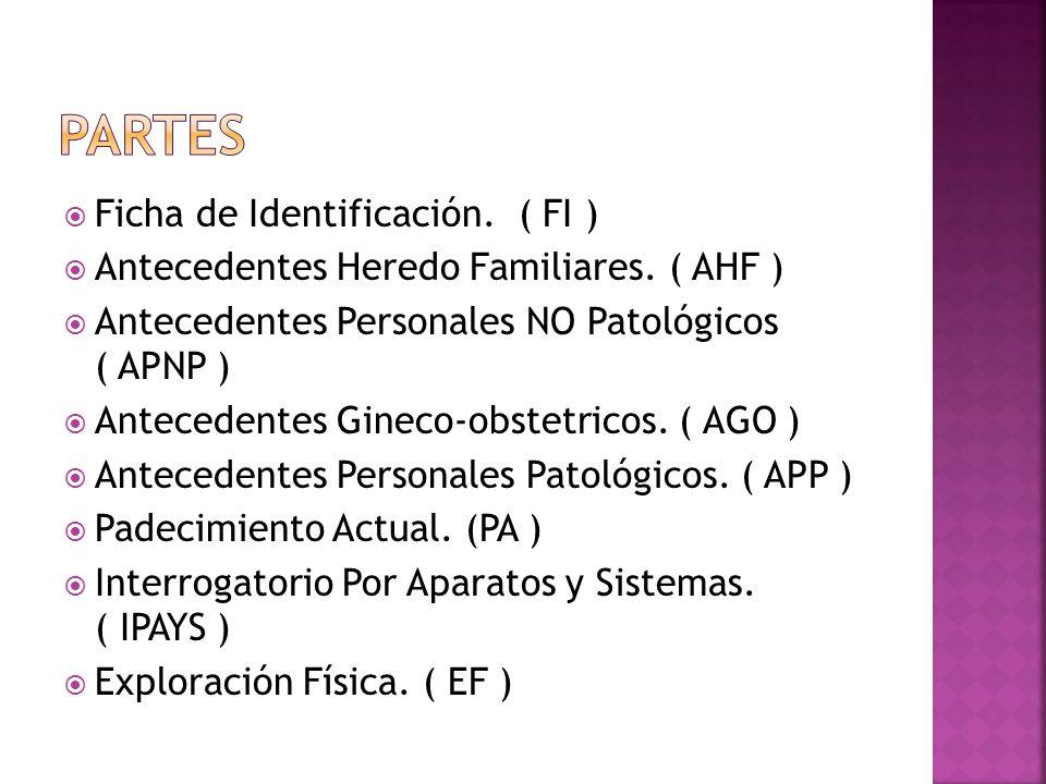 Ficha de Identificación. ( FI ) Antecedentes Heredo Familiares. ( AHF ) Antecedentes Personales NO Patológicos ( APNP ) Antecedentes Gineco-obstetrico