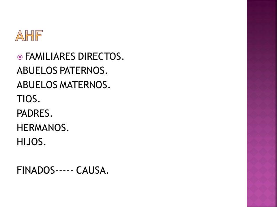 FAMILIARES DIRECTOS. ABUELOS PATERNOS. ABUELOS MATERNOS. TIOS. PADRES. HERMANOS. HIJOS. FINADOS----- CAUSA.