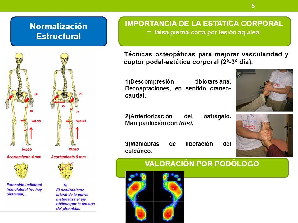 5 Normalización Estructural IMPORTANCIA DE LA ESTATICA CORPORAL = falsa pierna corta por lesión aquilea. 1)Descompresión tibiotarsiana. Decoaptaciones