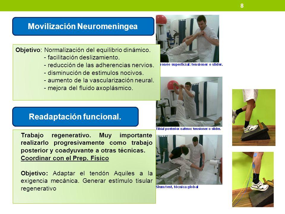 8 Movilización Neuromeningea Objetivo: Normalización del equilibrio dinámico. - facilitación deslizamiento. - reducción de las adherencias nervios. -