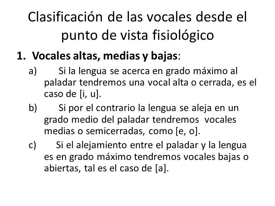 2.Vocales anteriores, posteriores y centrales: a) Si la lengua se desplaza hacia la región delantera de la cavidad bucal, hacia el paladar duro, tendremos vocales anteriores como [i, e].