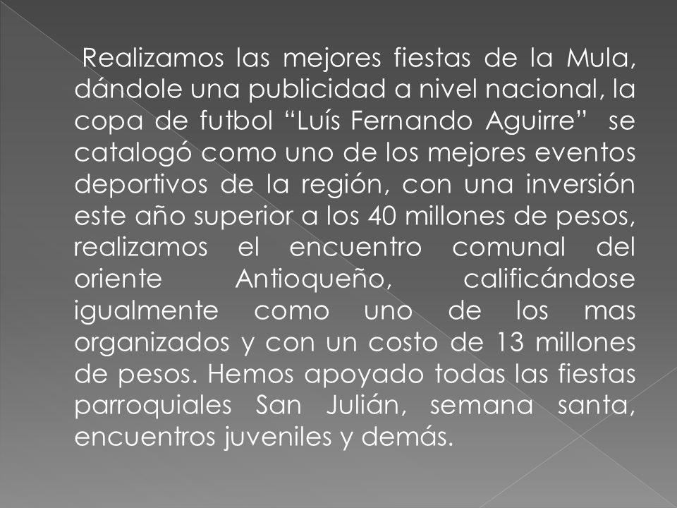 Le hemos dado una amplia difusión al municipio por diferentes medios de comunicación, Teleantioquia, CNC, Teveorient, tv Agro, Radio Súper, RCN, Caracol, el Colombiano entre otros.