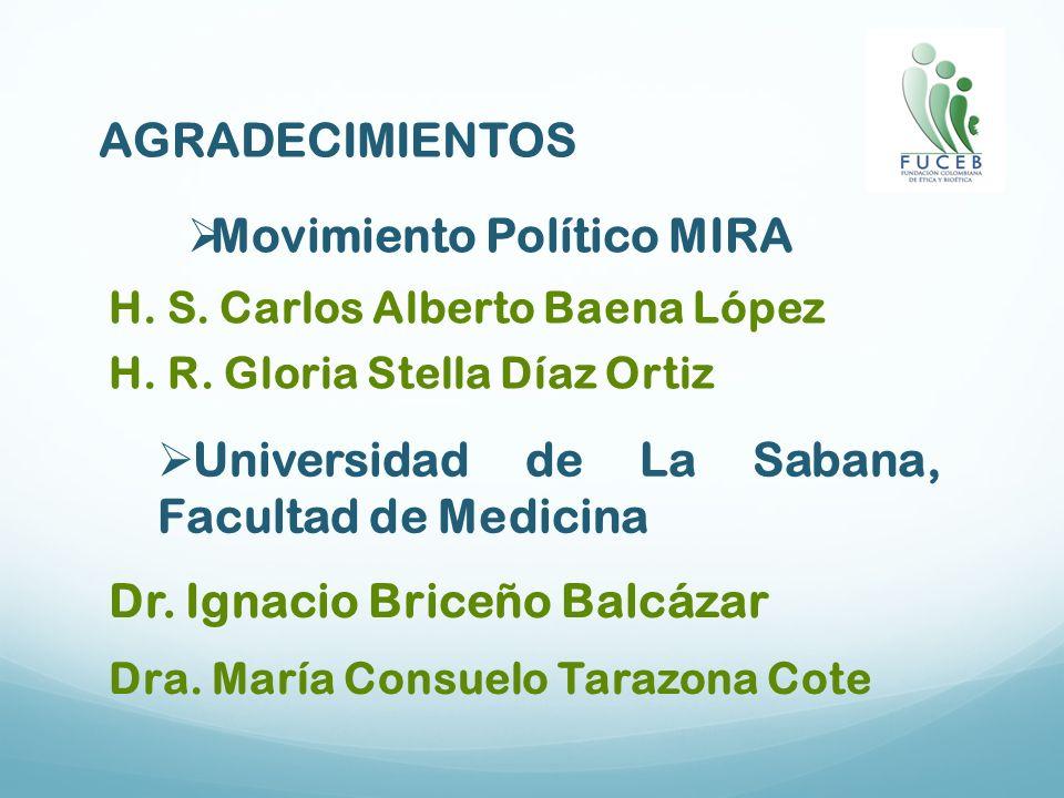 AGRADECIMIENTOS Movimiento Político MIRA H. S. Carlos Alberto Baena López H. R. Gloria Stella Díaz Ortiz Universidad de La Sabana, Facultad de Medicin