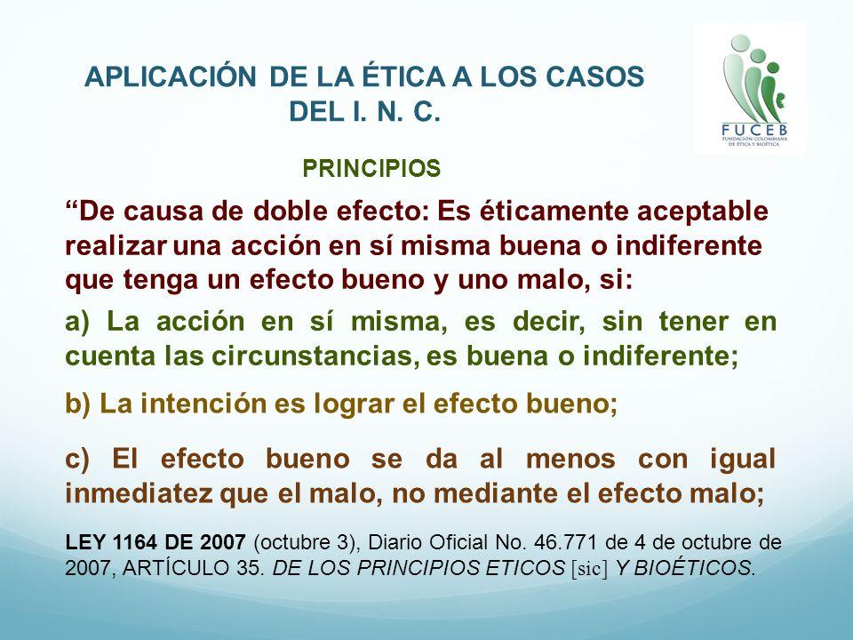 APLICACIÓN DE LA ÉTICA A LOS CASOS DEL I.N. C. LEY 1164 DE 2007 (octubre 3), Diario Oficial No.