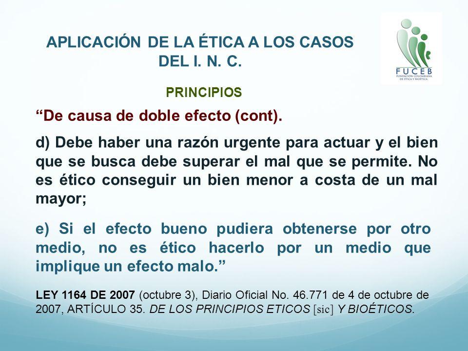 APLICACIÓN DE LA ÉTICA A LOS CASOS DEL I. N. C. LEY 1164 DE 2007 (octubre 3), Diario Oficial No. 46.771 de 4 de octubre de 2007, ARTÍCULO 35. DE LOS P