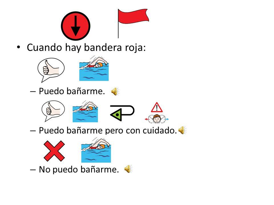 Cuando hay bandera amarilla: – Puedo bañarme. – Puedo bañarme pero con cuidado. – No puedo bañarme.