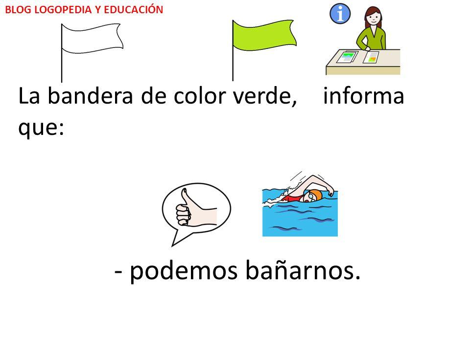 El color de la bandera nos informa: BLOG LOGOPEDIA Y EDUCACIÓN - Podemos bañarnos.