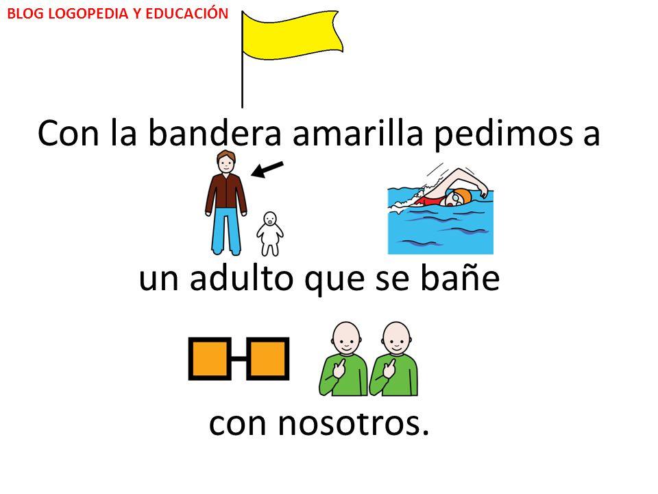 La bandera de color amarillo, nos informa que: BLOG LOGOPEDIA Y EDUCACIÓN podemos bañarnos pero con cuidado.
