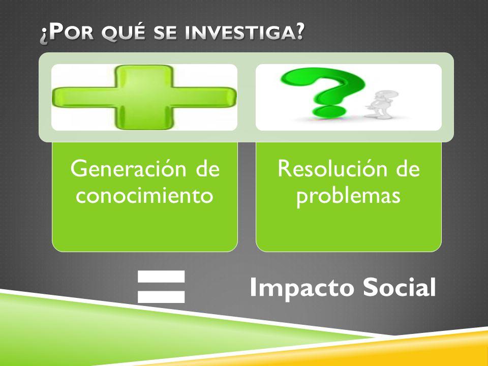 Generación de conocimiento Resolución de problemas = Impacto Social