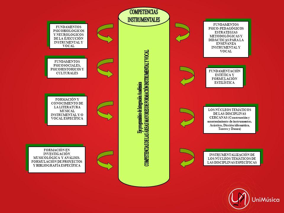 FUNDAMENTOS PSICOBIOLOGICOS Y NEUROLOGICOS DE LA ÉJECUCIÓN INSTRUMENTAL Y VOCAL FUNDAMENTOS PSICOSOCIALES, PSICOHISTORICOS Y CULTURALES FORMACIÓN Y CO