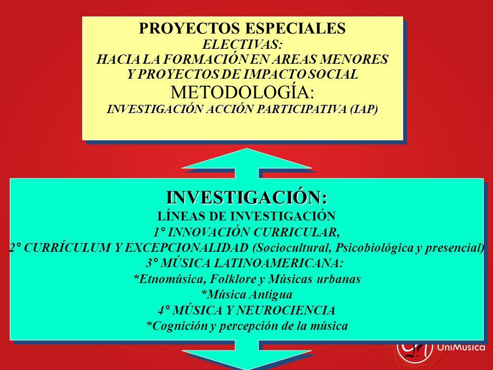 PROYECTOS ESPECIALES ELECTIVAS: HACIA LA FORMACIÓN EN AREAS MENORES Y PROYECTOS DE IMPACTO SOCIAL METODOLOGÍA: INVESTIGACIÓN ACCIÓN PARTICIPATIVA (IAP