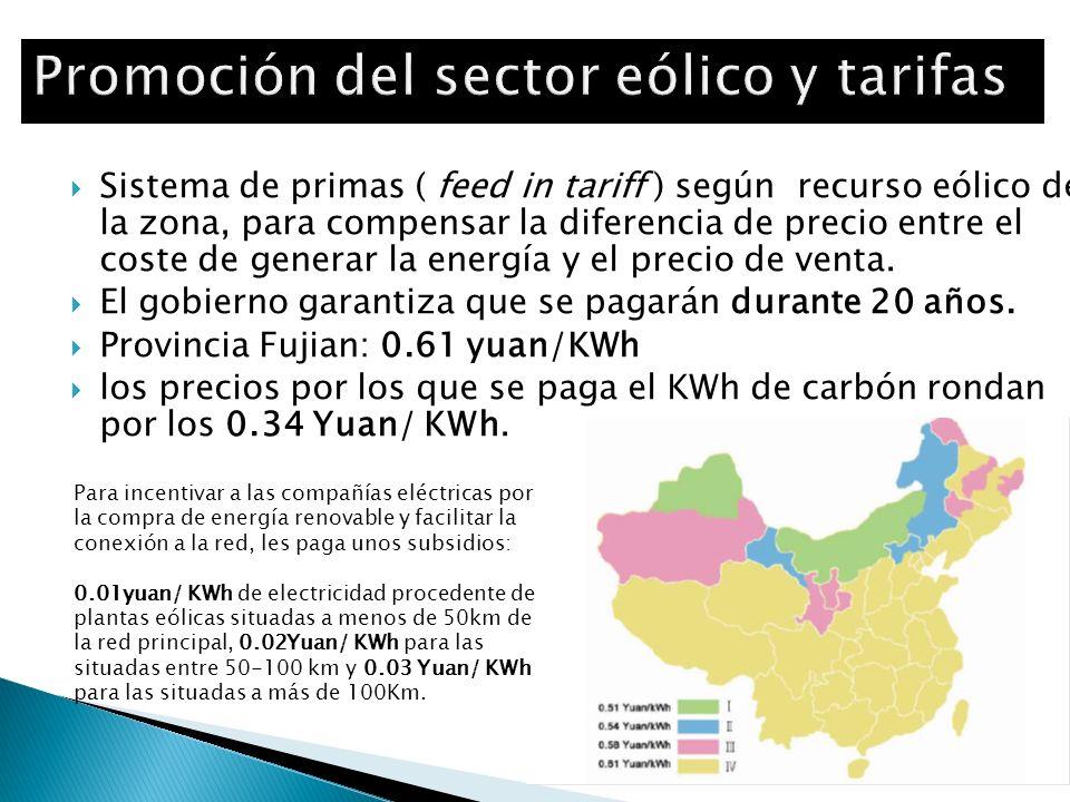 Sistema de primas ( feed in tariff ) según recurso eólico de la zona, para compensar la diferencia de precio entre el coste de generar la energía y el