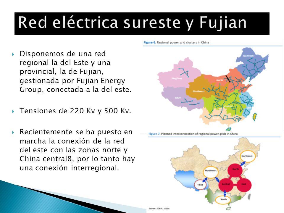 Disponemos de una red regional la del Este y una provincial, la de Fujian, gestionada por Fujian Energy Group, conectada a la del este. Tensiones de 2