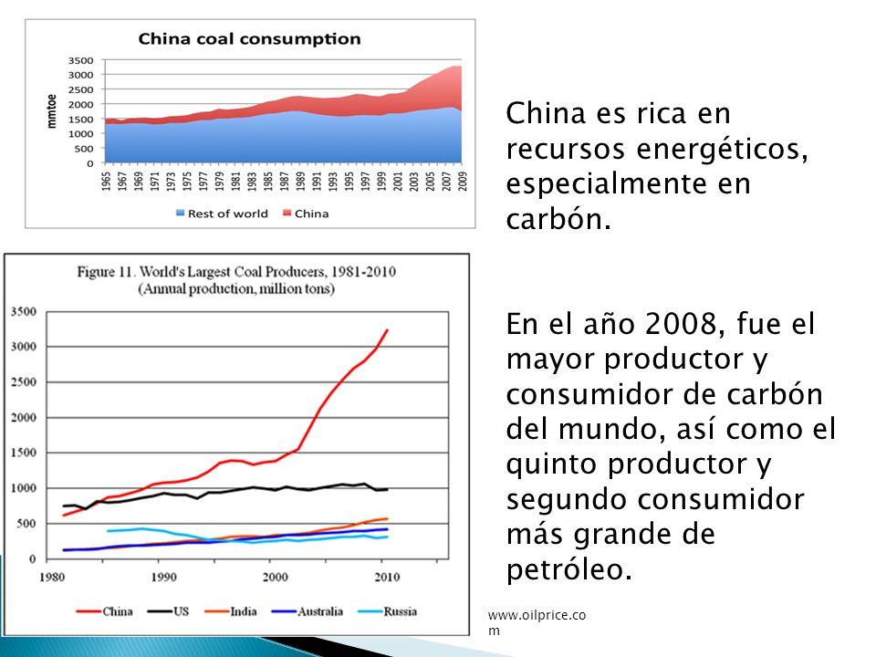 China es rica en recursos energéticos, especialmente en carbón. En el año 2008, fue el mayor productor y consumidor de carbón del mundo, así como el q