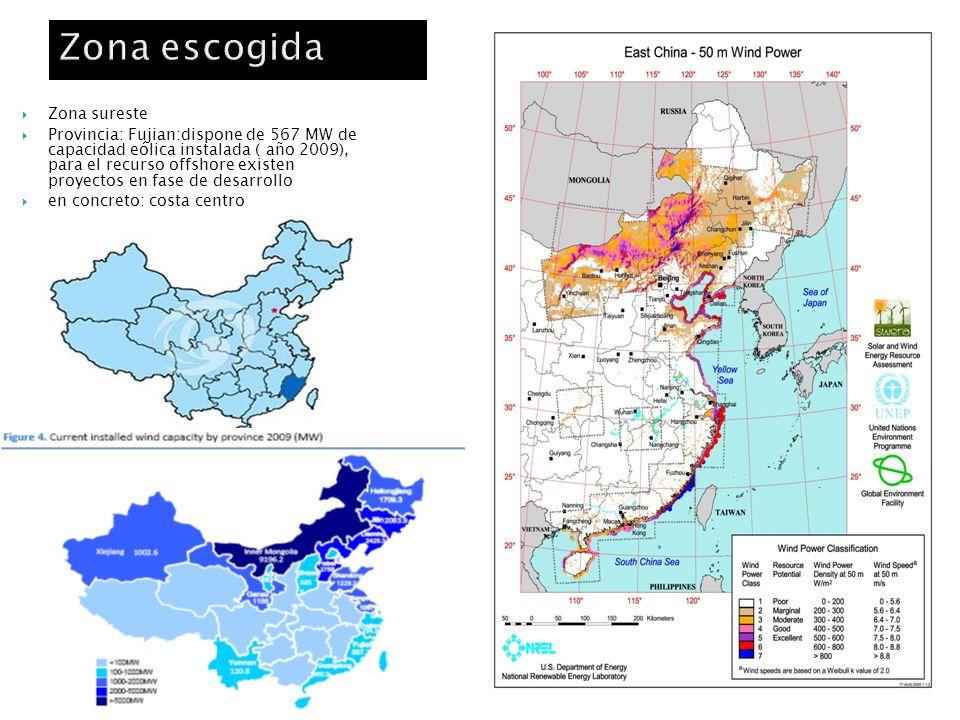 Zona sureste Provincia: Fujian:dispone de 567 MW de capacidad eólica instalada ( año 2009), para el recurso offshore existen proyectos en fase de desa