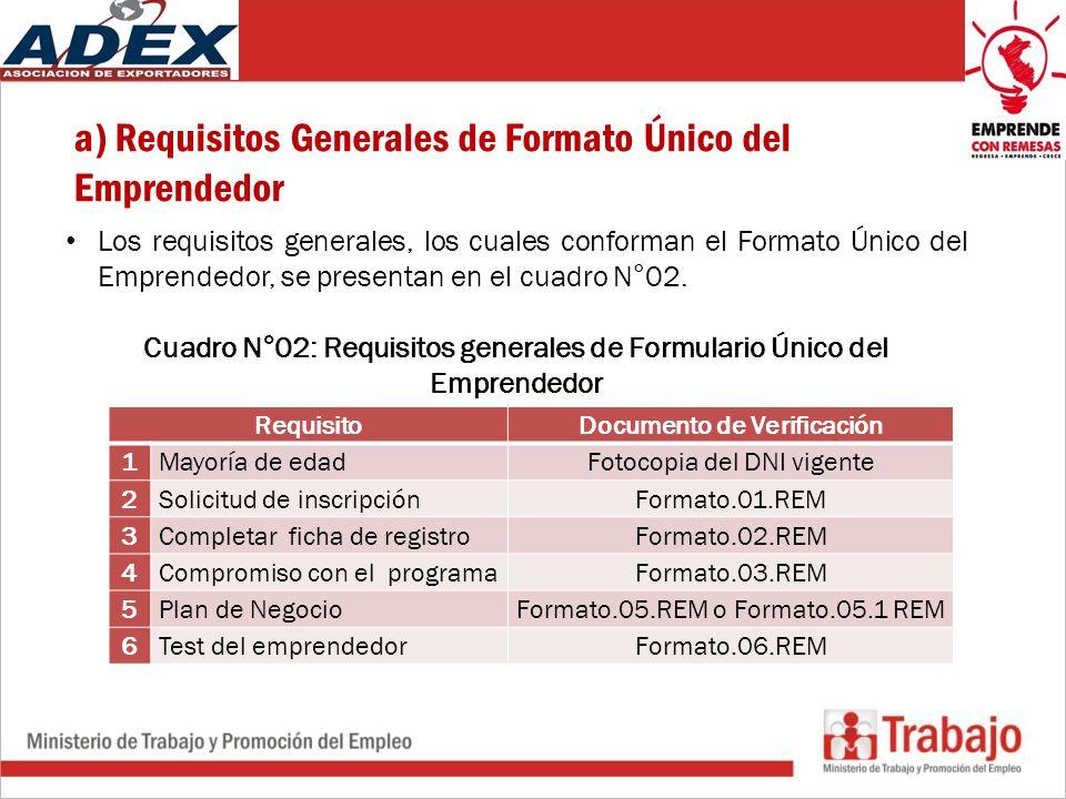 a) Requisitos Generales de Formato Único del Emprendedor Los requisitos generales, los cuales conforman el Formato Único del Emprendedor, se presentan en el cuadro N°02.