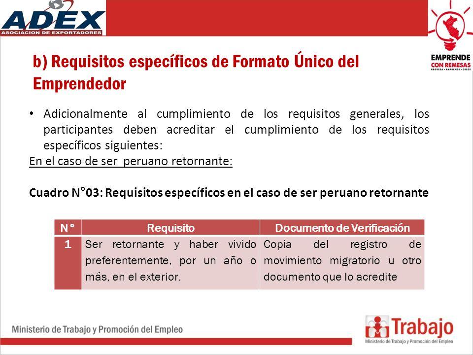 b) Requisitos específicos de Formato Único del Emprendedor Adicionalmente al cumplimiento de los requisitos generales, los participantes deben acreditar el cumplimiento de los requisitos específicos siguientes: En el caso de ser peruano retornante: Cuadro N°03: Requisitos específicos en el caso de ser peruano retornante N°RequisitoDocumento de Verificación 1Ser retornante y haber vivido preferentemente, por un año o más, en el exterior.