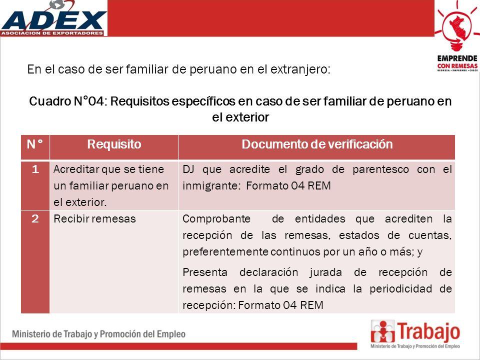 En el caso de ser familiar de peruano en el extranjero: Cuadro N°04: Requisitos específicos en caso de ser familiar de peruano en el exterior N°RequisitoDocumento de verificación 1 Acreditar que se tiene un familiar peruano en el exterior.