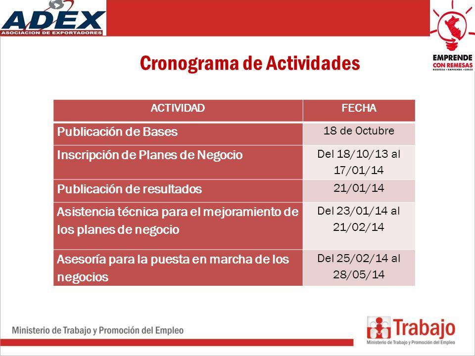 Cronograma de Actividades ACTIVIDADFECHA Publicación de Bases 18 de Octubre Inscripción de Planes de Negocio Del 18/10/13 al 17/01/14 Publicación de resultados 21/01/14 Asistencia técnica para el mejoramiento de los planes de negocio Del 23/01/14 al 21/02/14 Asesoría para la puesta en marcha de los negocios Del 25/02/14 al 28/05/14