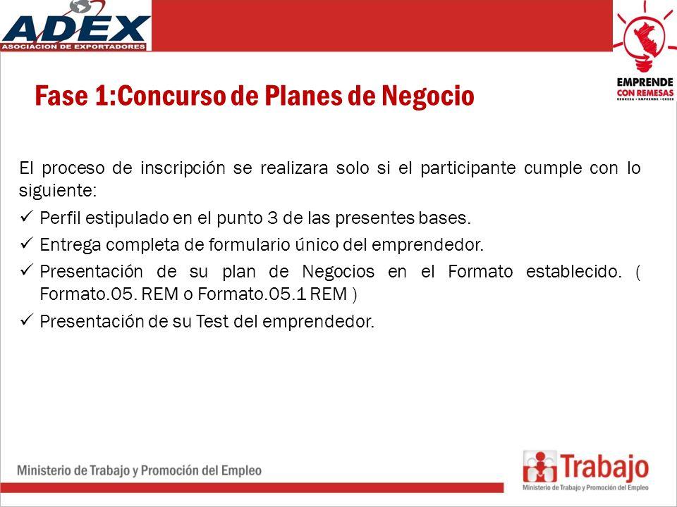 Fase 1:Concurso de Planes de Negocio El proceso de inscripción se realizara solo si el participante cumple con lo siguiente: Perfil estipulado en el punto 3 de las presentes bases.