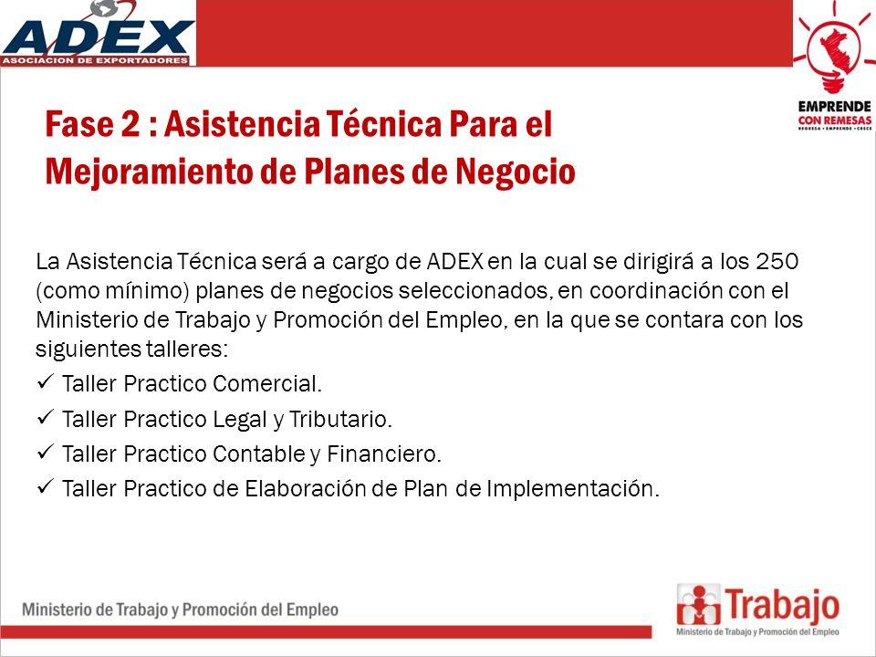 Fase 2 : Asistencia Técnica Para el Mejoramiento de Planes de Negocio La Asistencia Técnica será a cargo de ADEX en la cual se dirigirá a los 250 (como mínimo) planes de negocios seleccionados, en coordinación con el Ministerio de Trabajo y Promoción del Empleo, en la que se contara con los siguientes talleres: Taller Practico Comercial.