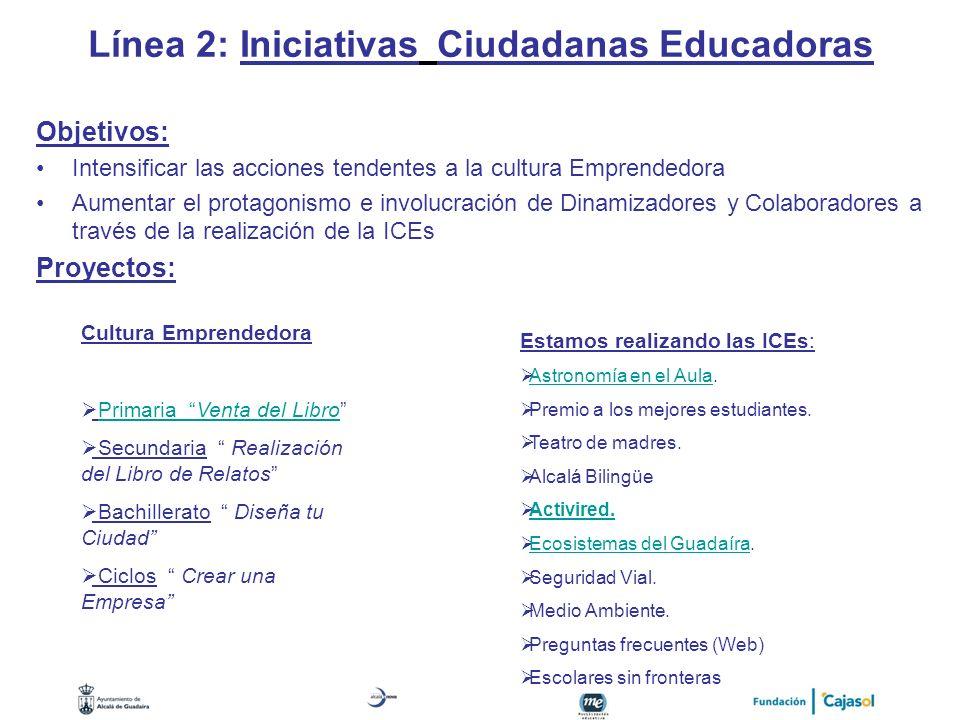 Línea 2: Iniciativas Ciudadanas Educadoras Objetivos: Intensificar las acciones tendentes a la cultura Emprendedora Aumentar el protagonismo e involuc