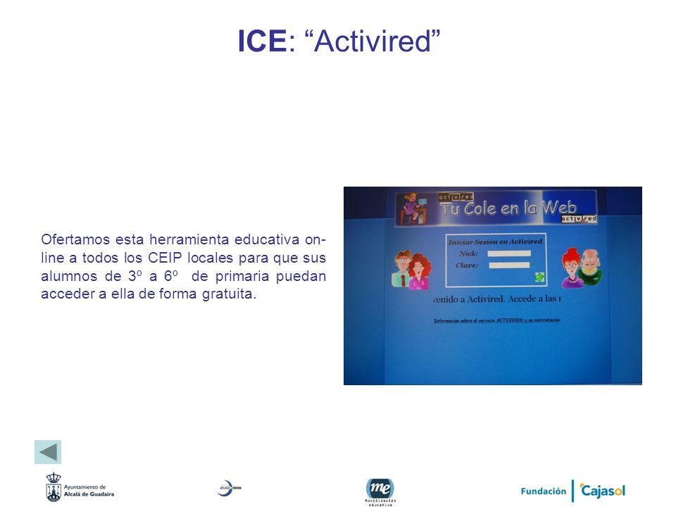ICE: Activired Ofertamos esta herramienta educativa on- line a todos los CEIP locales para que sus alumnos de 3º a 6º de primaria puedan acceder a ell