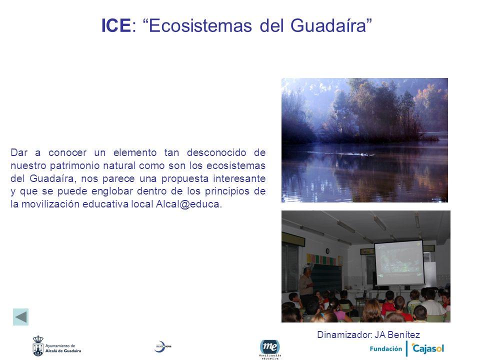 ICE: Ecosistemas del Guadaíra Dar a conocer un elemento tan desconocido de nuestro patrimonio natural como son los ecosistemas del Guadaíra, nos parec