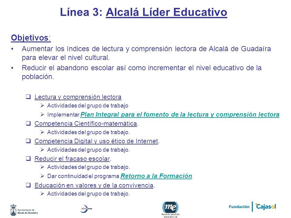 Línea 3: Alcalá Líder Educativo Objetivos: Aumentar los índices de lectura y comprensión lectora de Alcalá de Guadaíra para elevar el nivel cultural.