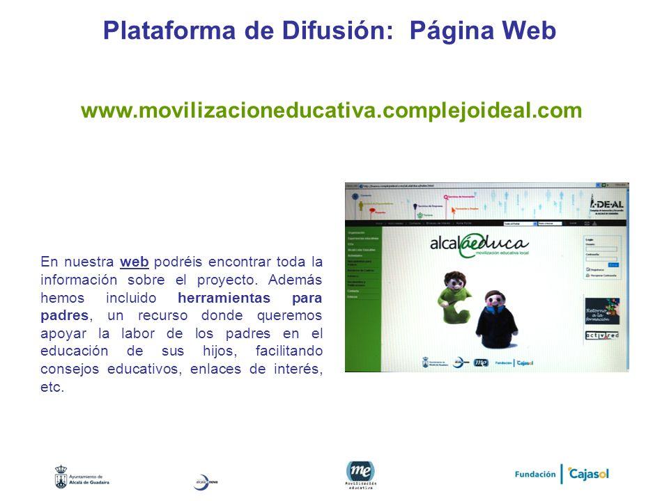 Plataforma de Difusión: Página Web En nuestra web podréis encontrar toda la información sobre el proyecto. Además hemos incluido herramientas para pad