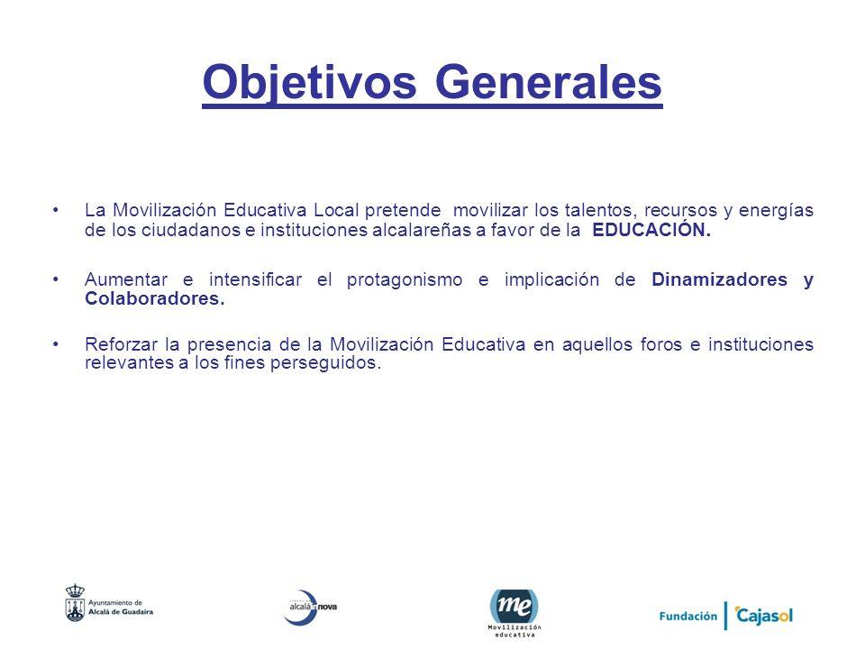 Objetivos Generales La Movilización Educativa Local pretende movilizar los talentos, recursos y energías de los ciudadanos e instituciones alcalareñas
