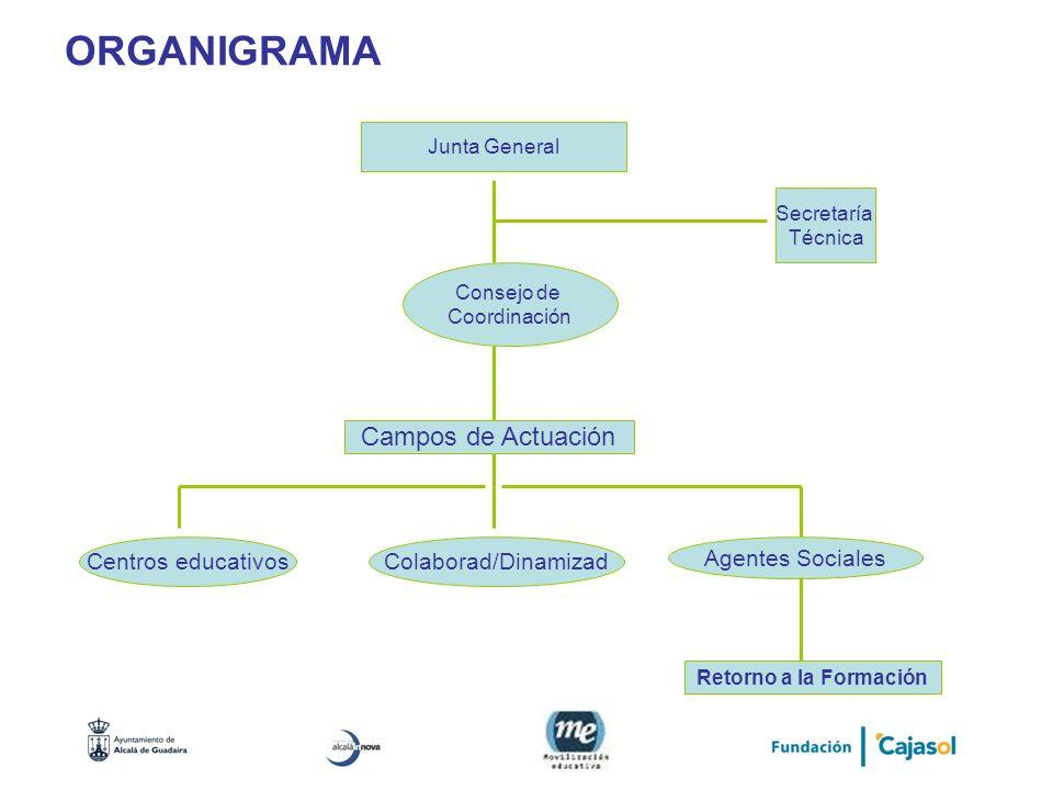 ORGANIGRAMA Junta General Consejo de Coordinación Secretaría Técnica Campos de Actuación Centros educativosColaborad/Dinamizad Agentes Sociales Retorn