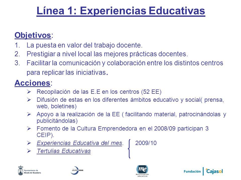 Línea 1: Experiencias Educativas Objetivos: 1.La puesta en valor del trabajo docente. 2.Prestigiar a nivel local las mejores prácticas docentes. 3.Fac