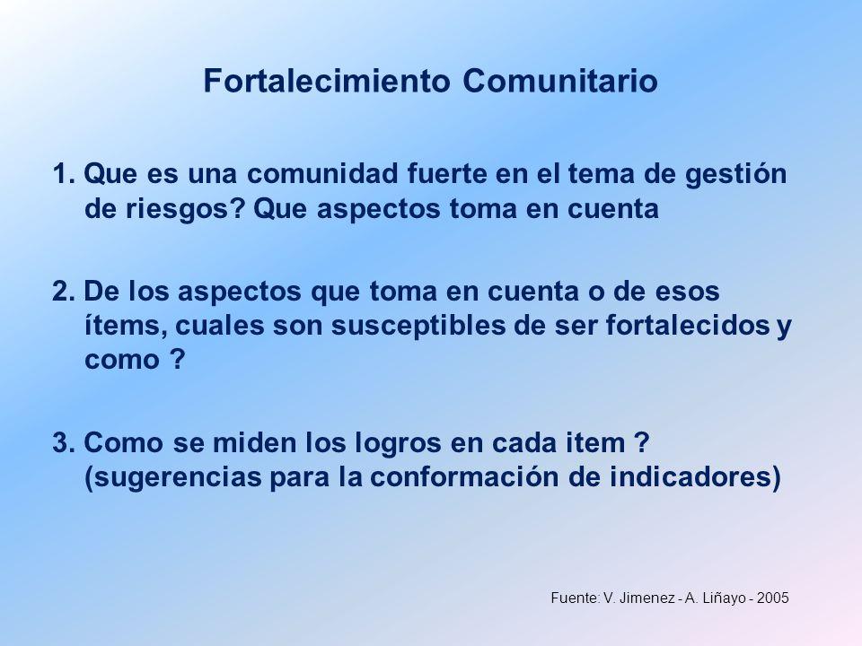 Fuente: V. Jimenez - A. Liñayo - 2005 Fortalecimiento Comunitario 1. Que es una comunidad fuerte en el tema de gestión de riesgos? Que aspectos toma e
