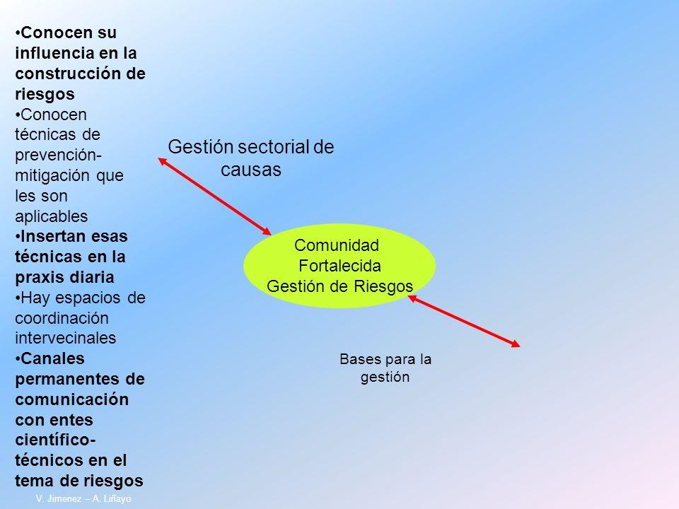 Comunidad Fortalecida Gestión de Riesgos Gestión sectorial de causas Bases para la gestión Conocen su influencia en la construcción de riesgos Conocen