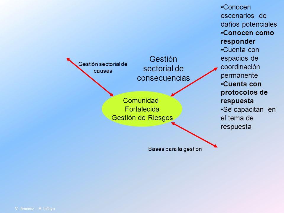 Comunidad Fortalecida Gestión de Riesgos Gestión sectorial de causas Gestión sectorial de consecuencias Bases para la gestión Conocen escenarios de da
