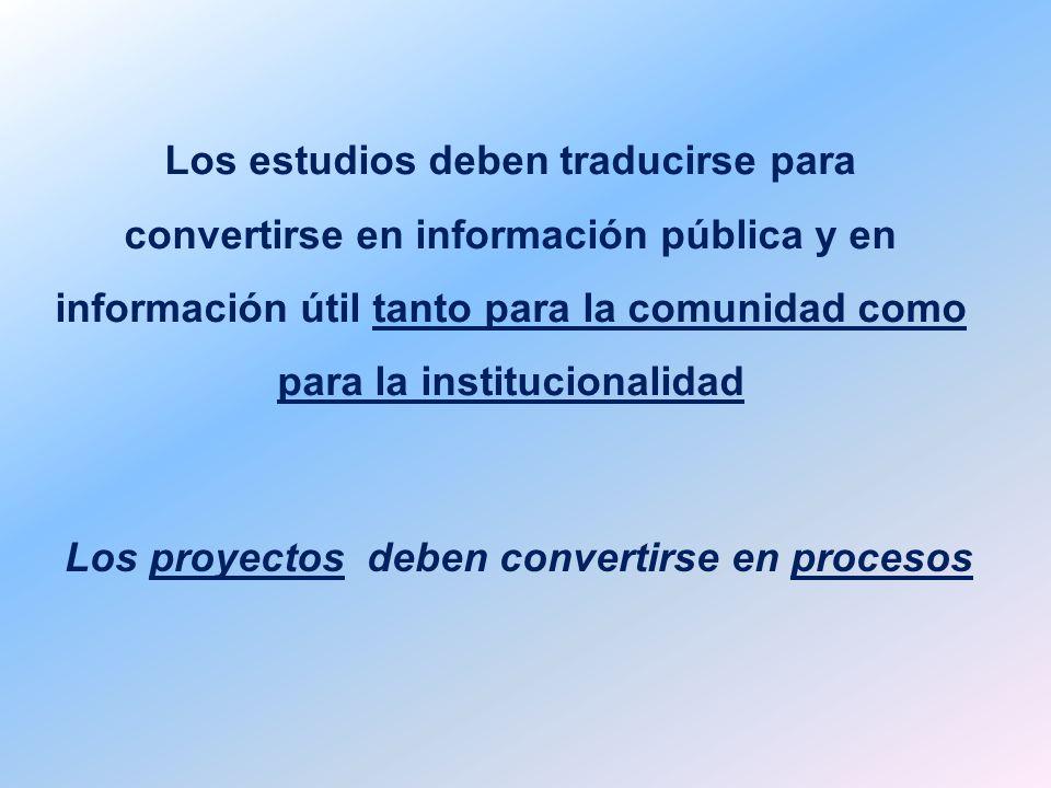 Los estudios deben traducirse para convertirse en información pública y en información útil tanto para la comunidad como para la institucionalidad Los proyectos deben convertirse en procesos