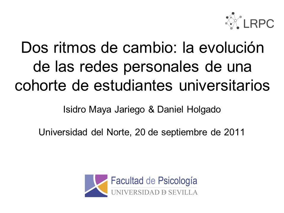 Dos ritmos de cambio: la evolución de las redes personales de una cohorte de estudiantes universitarios Isidro Maya Jariego & Daniel Holgado Universidad del Norte, 20 de septiembre de 2011