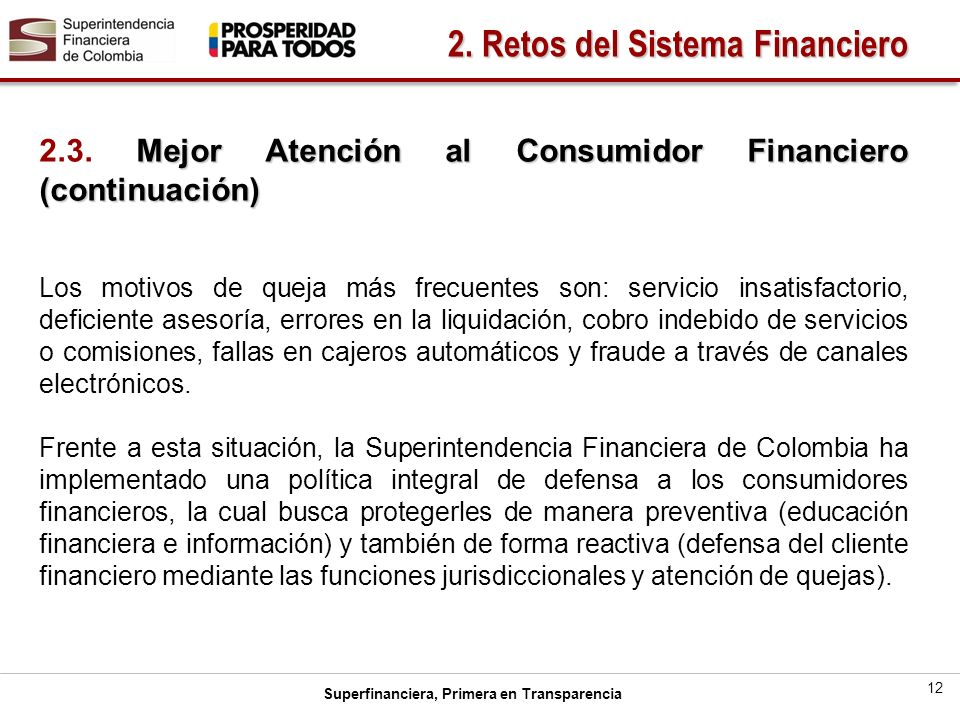 Superfinanciera, Primera en Transparencia 12 2.